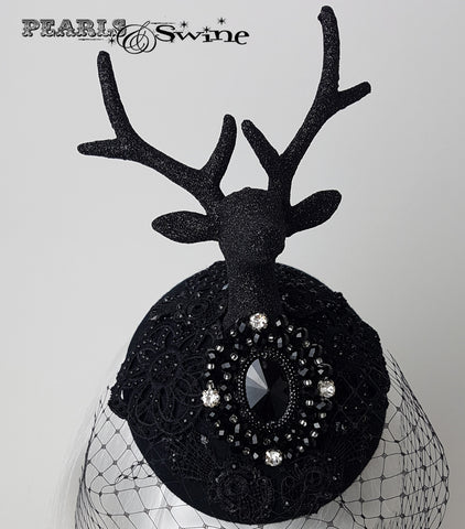 black glitter lace deer head and antler hat