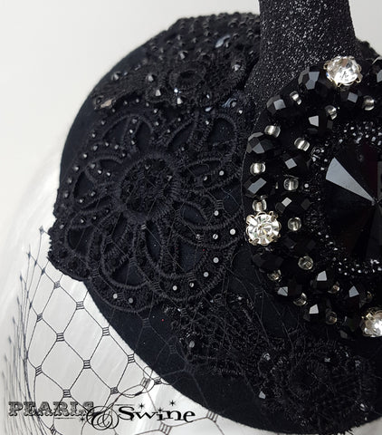 black glitter lace deer head and antler headpiece