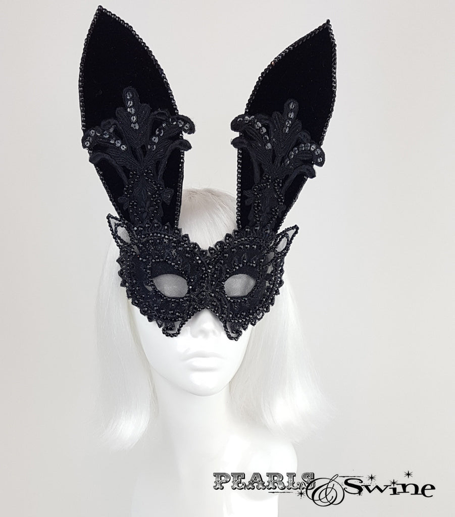 Black Velvet & Lace Bunny Rabbit Mask