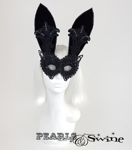 "Black Velvet & Lace Bunny Rabbit Mask ""Eyes Wide Shut"""