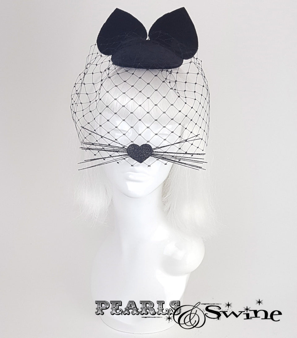 Black velvet cat ear veil fascinator