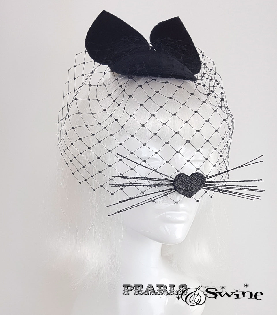 Black velvet cat ear veil unique fascinator for sale UK