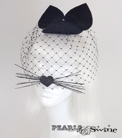 Quirky black velvet cat ear veil fascinator