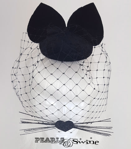 Black velvet cat ear veil fascinator for sale Uk