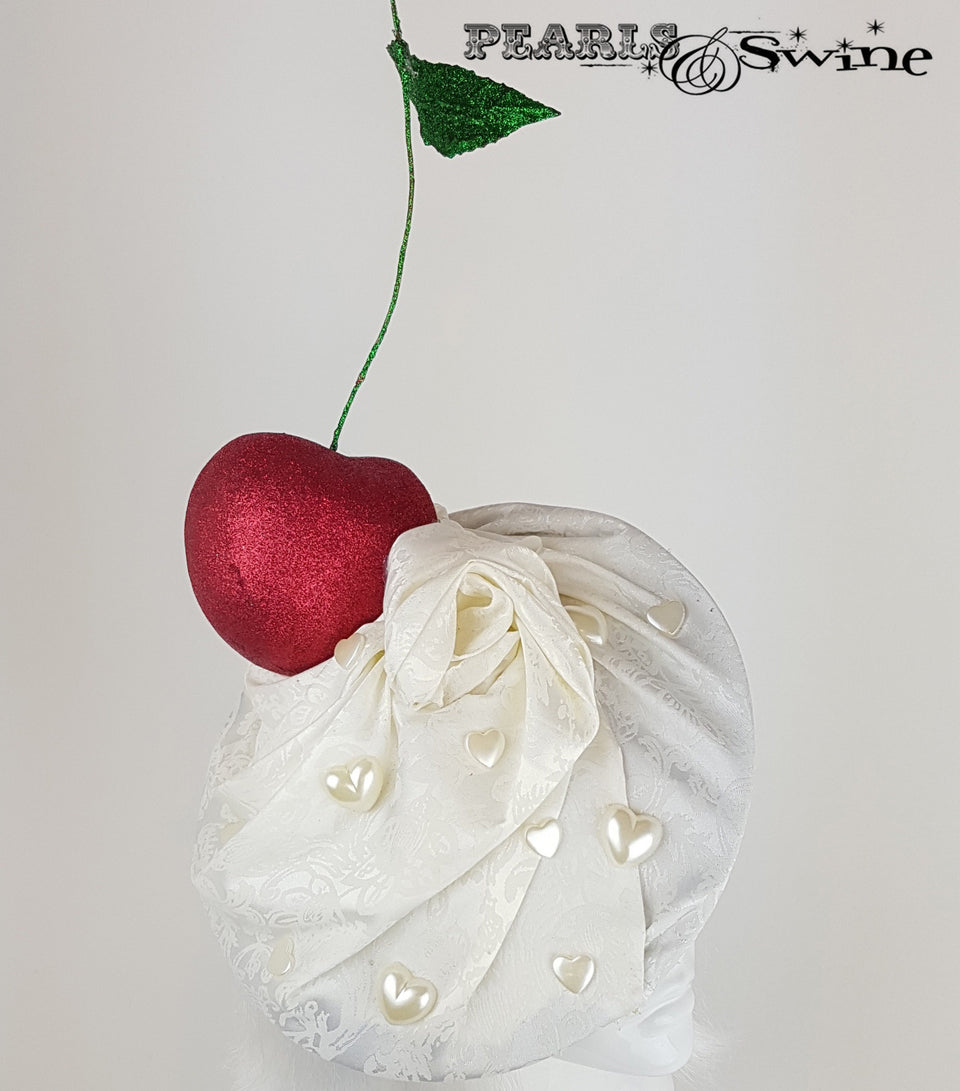 Giant Cherry & Cream Hat, unique headpieces for sale UK