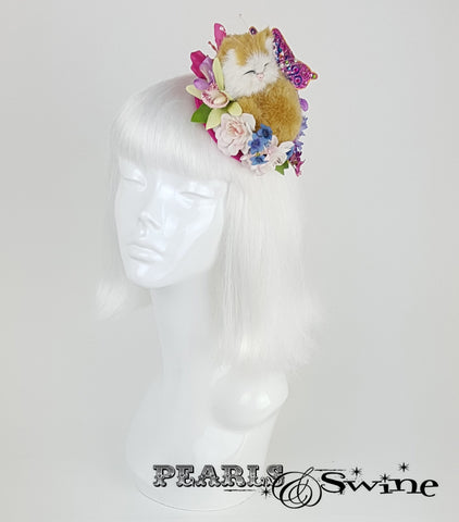 sleeping kitten cat flower butterfly fascinator