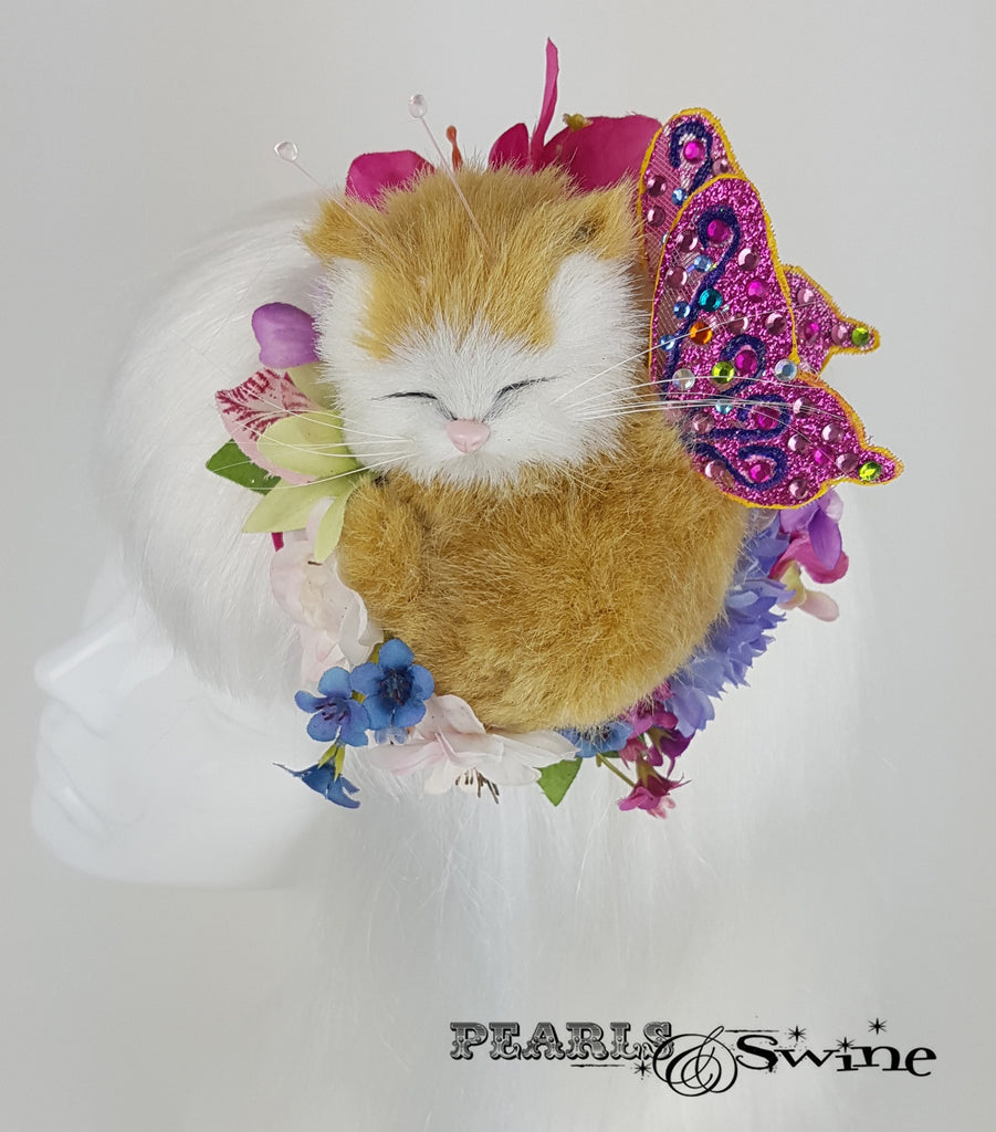 sleeping kitten cat flower butterfly headpiece
