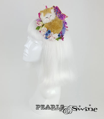 sleeping kitten cat flower butterfly fascinator millinery