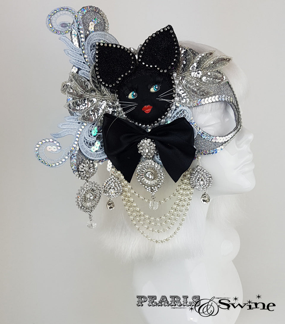 unique cat half mask fascinator for sale UK