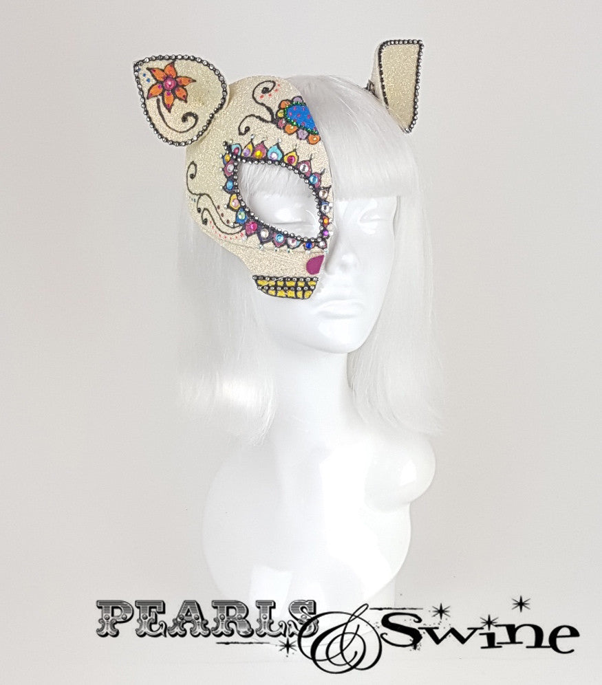 Day of the Dead cat, sugar skull inspired glitter half mask fascinator