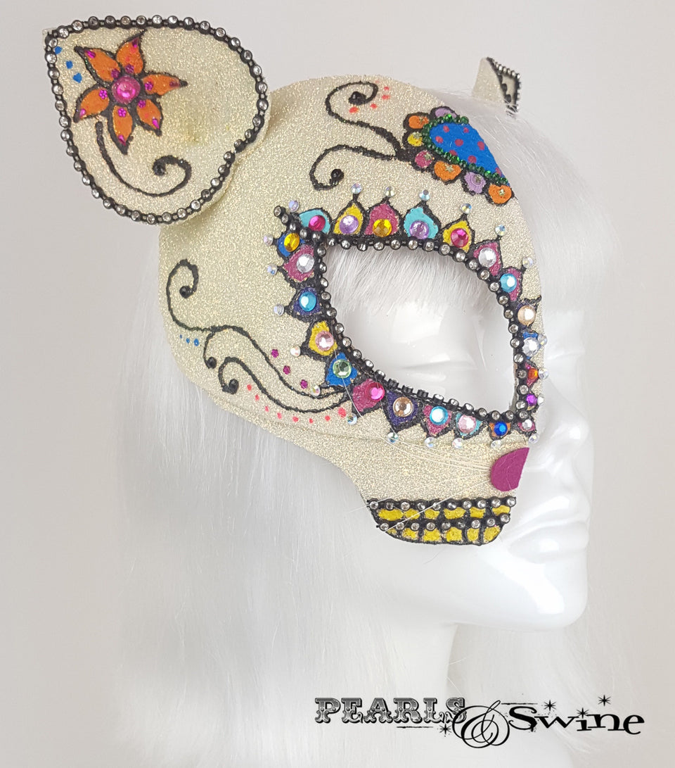 Day of the Dead cat, sugar skull inspired glitter half mask fascinator, crazy cat lady
