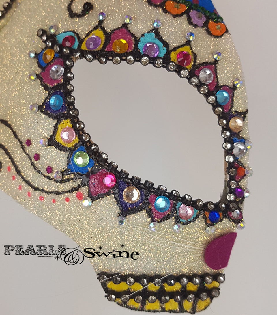 Day of the Dead cat, sugar skull inspired glitter half mask fascinator for sale UK