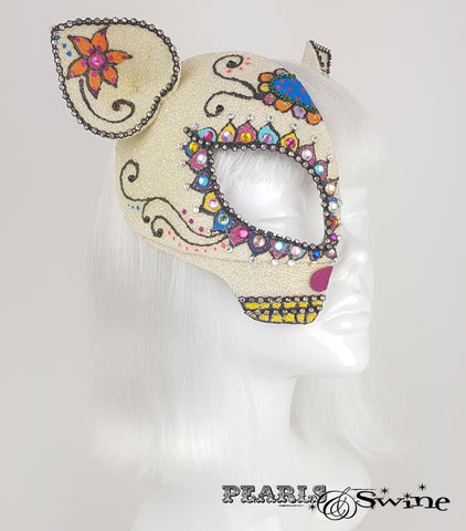 Day of the Dead cat, sugar skull mask, crazy cat lady headwear