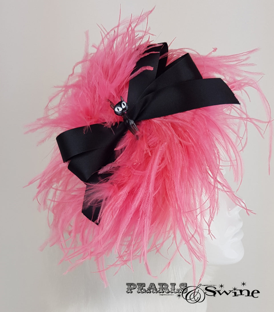 Power Puff Bow Feather Fascinator, ladies hats for sale UK