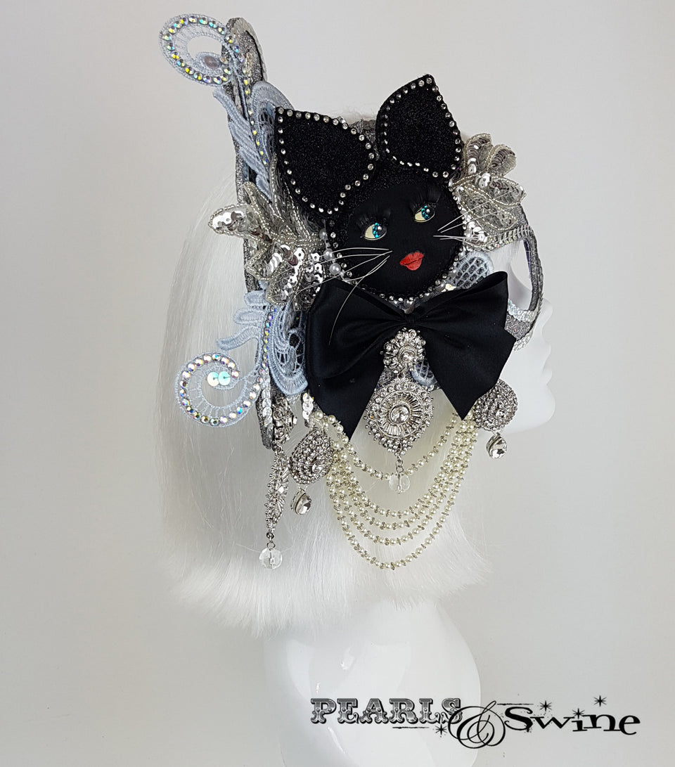 silver cat half mask fascinator UK for sale