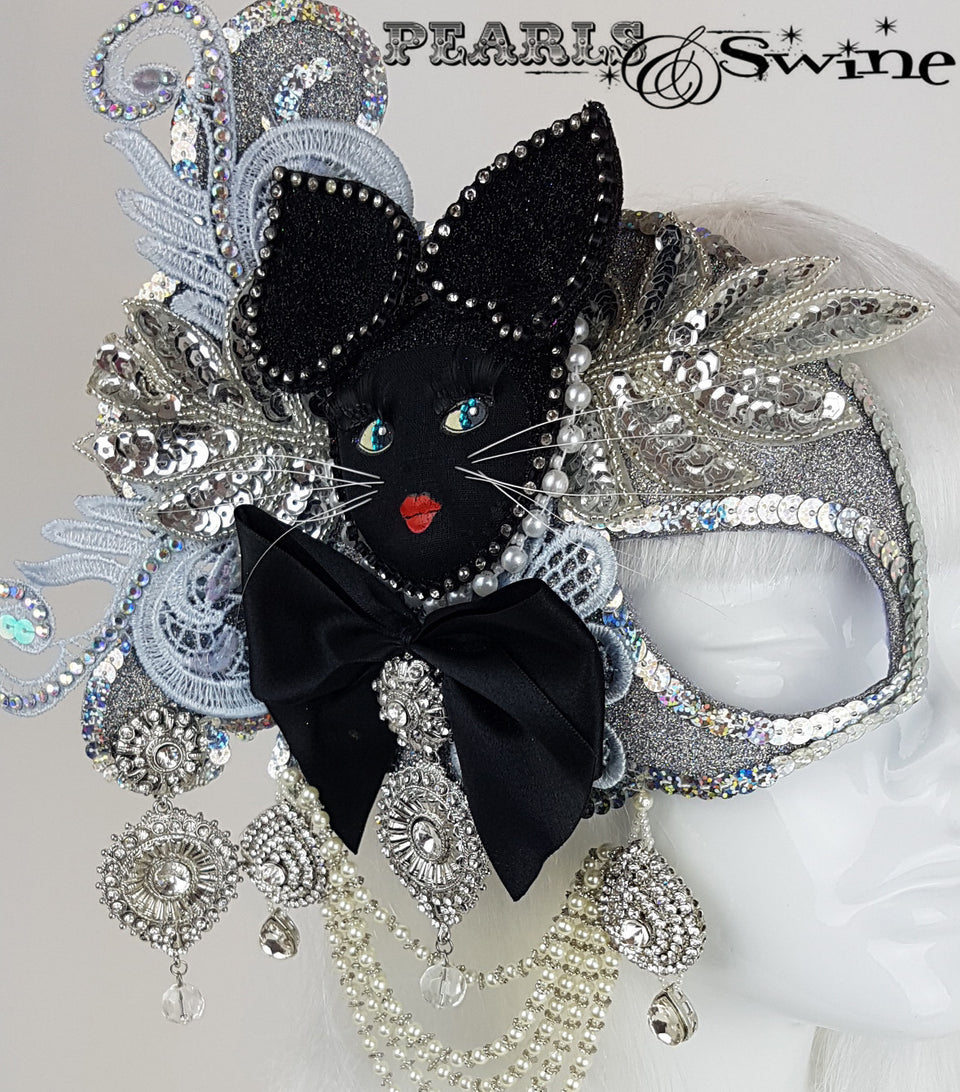 crazy cat lady half mask fascinator UK