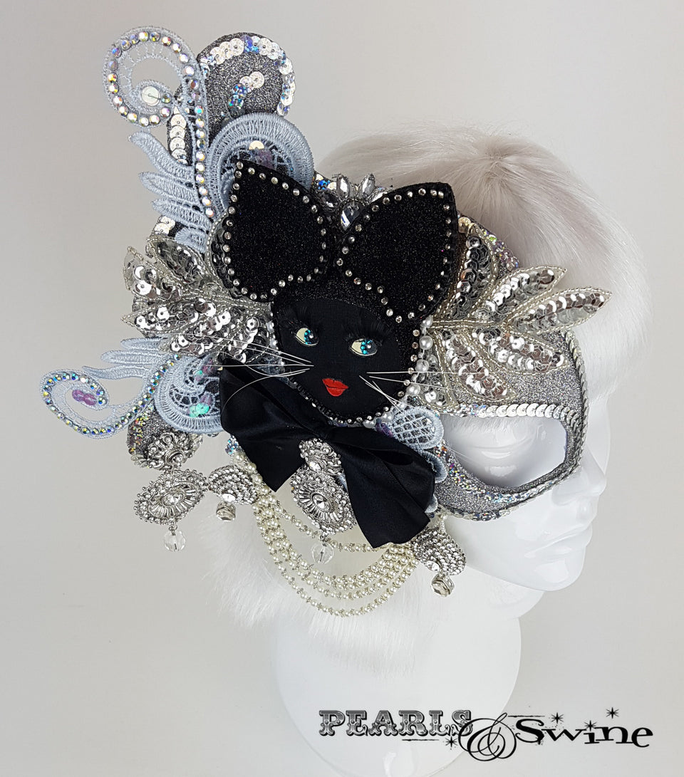 OTT cat half mask fascinator UK