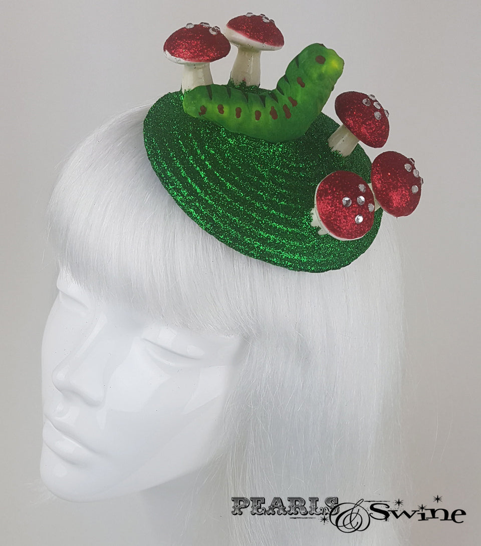 caterpillar & mushroom surreal fascinator for sale UK