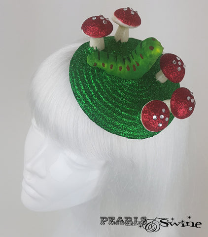 caterpillar & mushroom alice in wonderland fascinator for sale UK