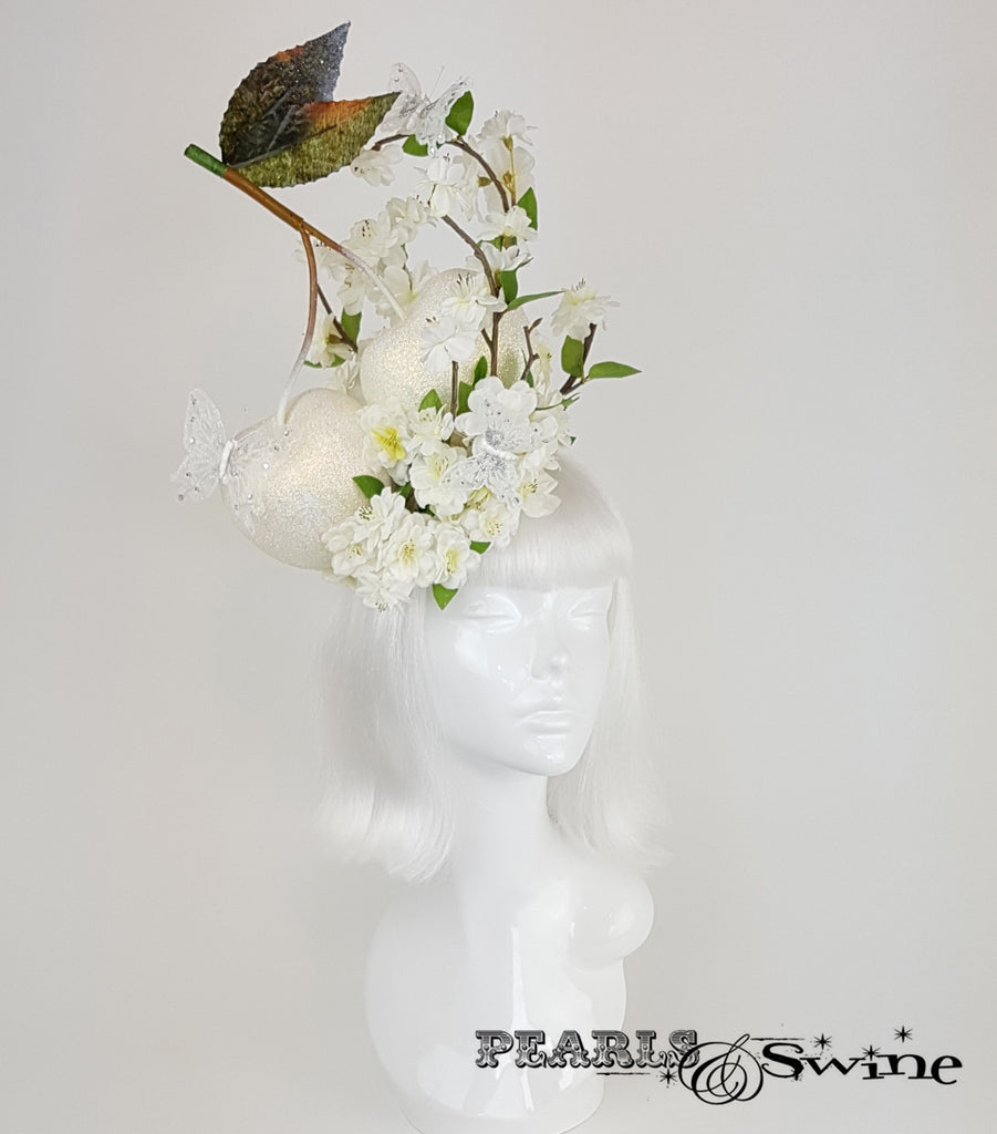 giant cherry blossom white bridal headpiece