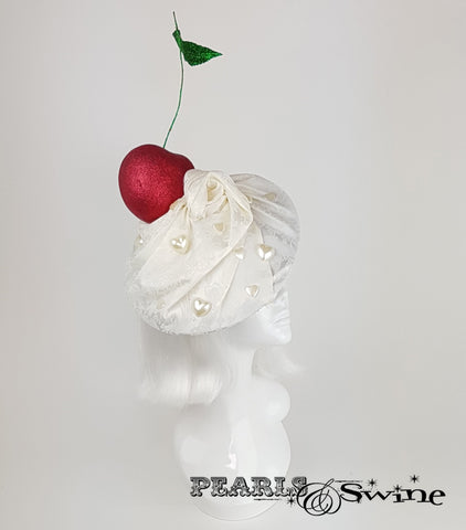 Giant Cherry & Cream Hat, quirky headpieces for sale UK