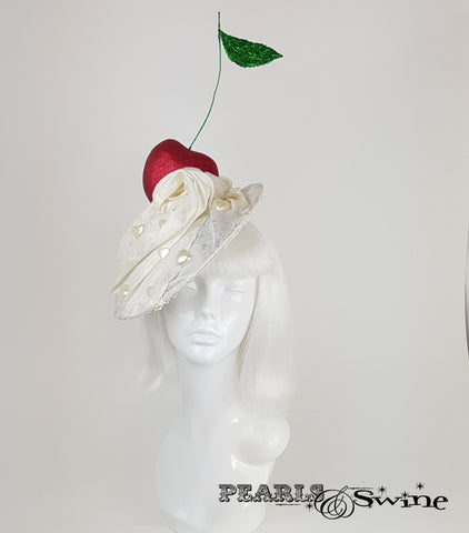 Giant Cherry & Cream Hat, unusual headpieces for sale UK
