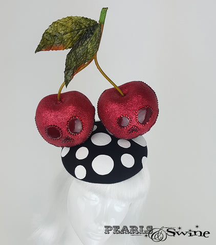 Giant Cherry Glitter Skull Hat, rock & roll bridal headpiece