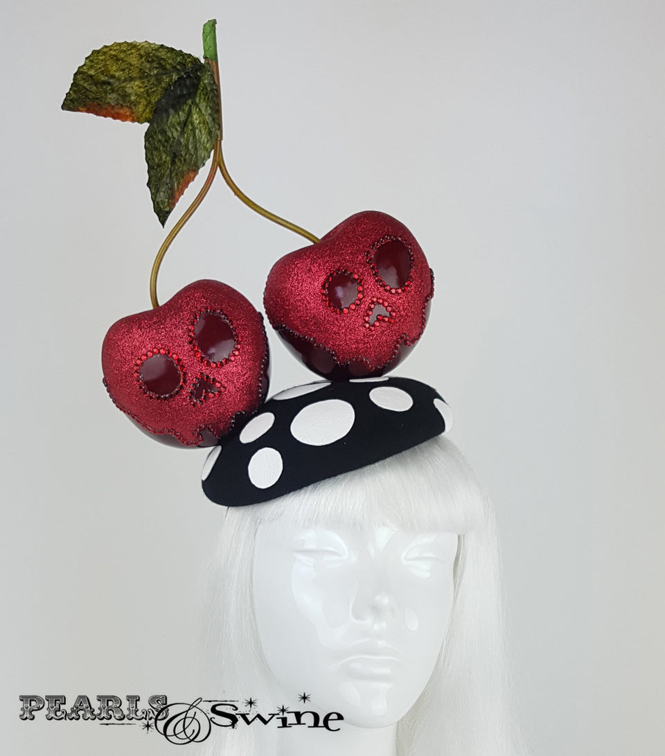 Giant Cherry Glitter Skull Hat, Royal ascot headpiece