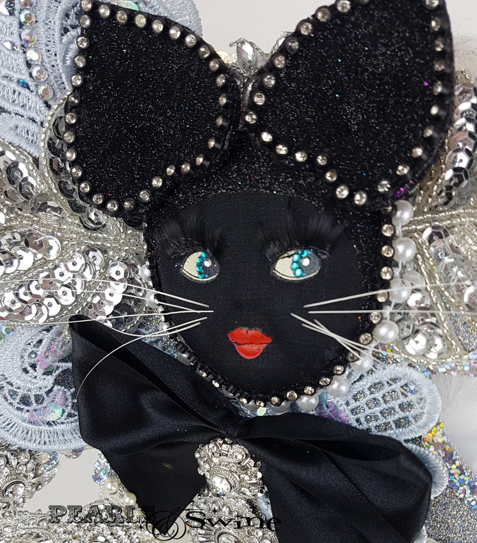 Jewel cat half mask fascinator UK