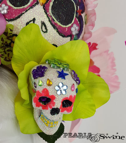 Giant Cherry Sugar Skull Hat, hats & fascinators for sale UK