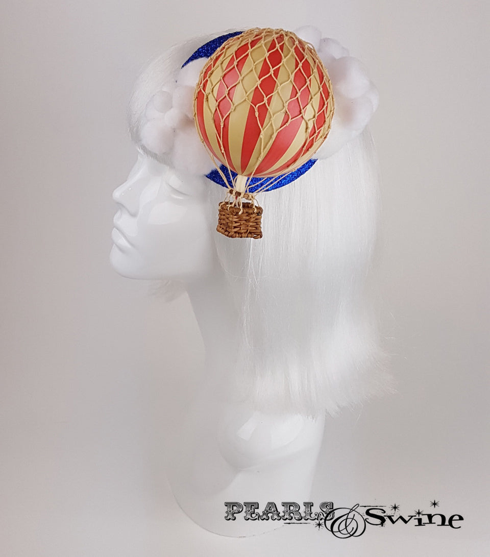 hot air balloon cloud glitter headpiece fascinator