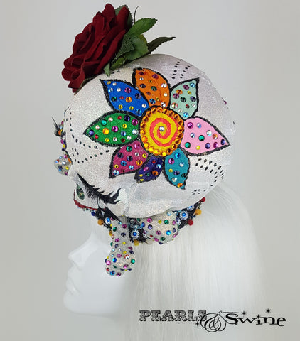 Day of the Dead Sugar Skull Fascinator, surreal hats for sale UK