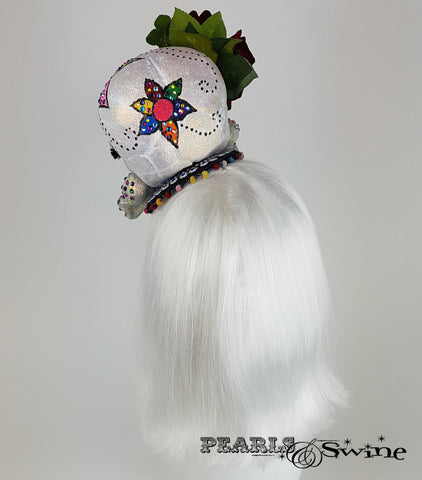 back of Day of the Dead Sugar Skull Fascinator