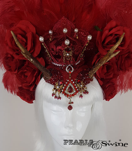 Red Feather Antler Crown burlesque showgirl Headdress