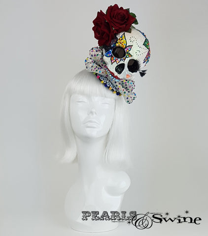 Day of the Dead Sugar Skull Fascinator, Halloween Hat