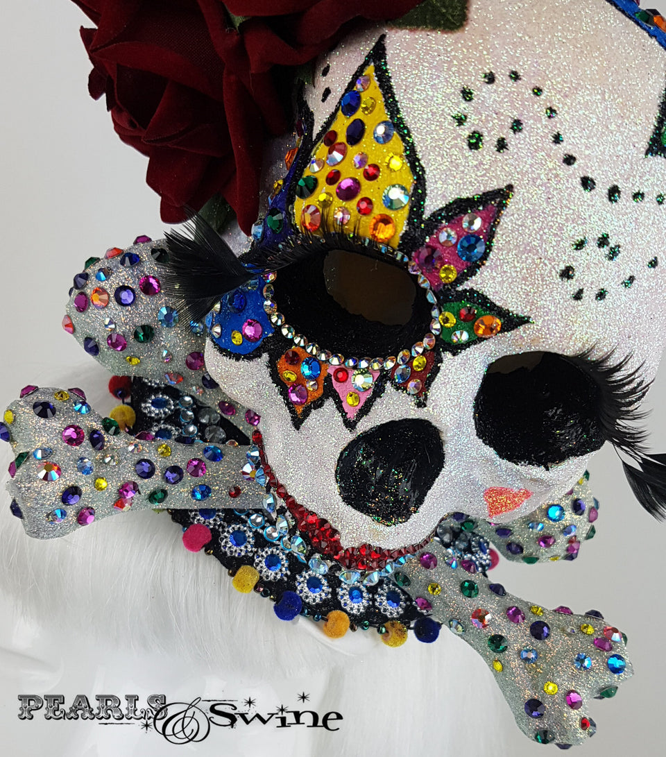 Day of the Dead Sugar glitter crystal Skull Fascinator