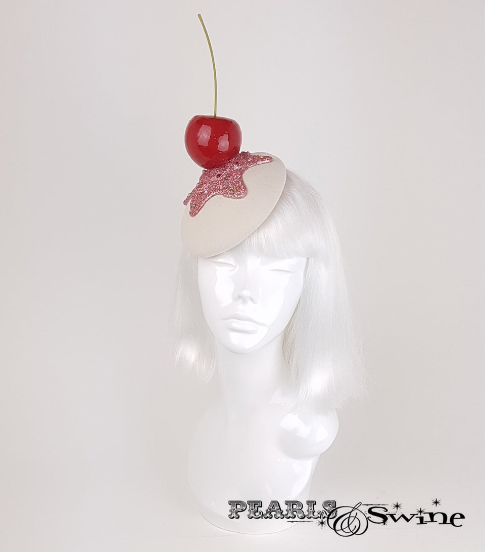 Giant Cherry Cupcake Glitter quirky ladies Hat