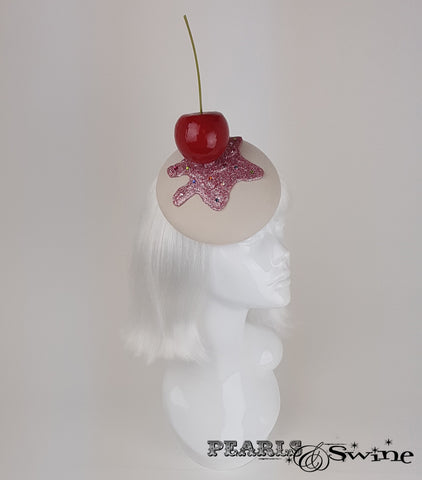 Giant Cherry Cupcake Glitter Hat millinery for sale UK