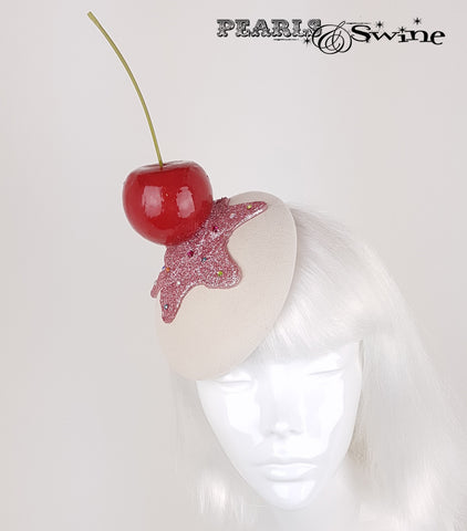Giant Cherry Cupcake Glitter surreal Hat