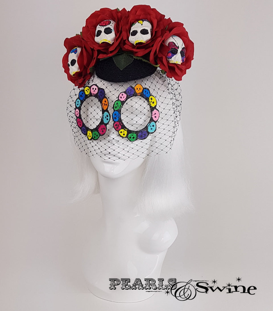 Sugar Skull Veiled Headdress, unusual millinery UK