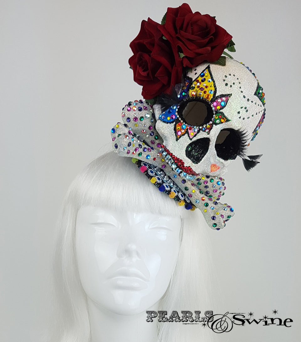 Day of the Dead Sugar Skull Fascinator UK