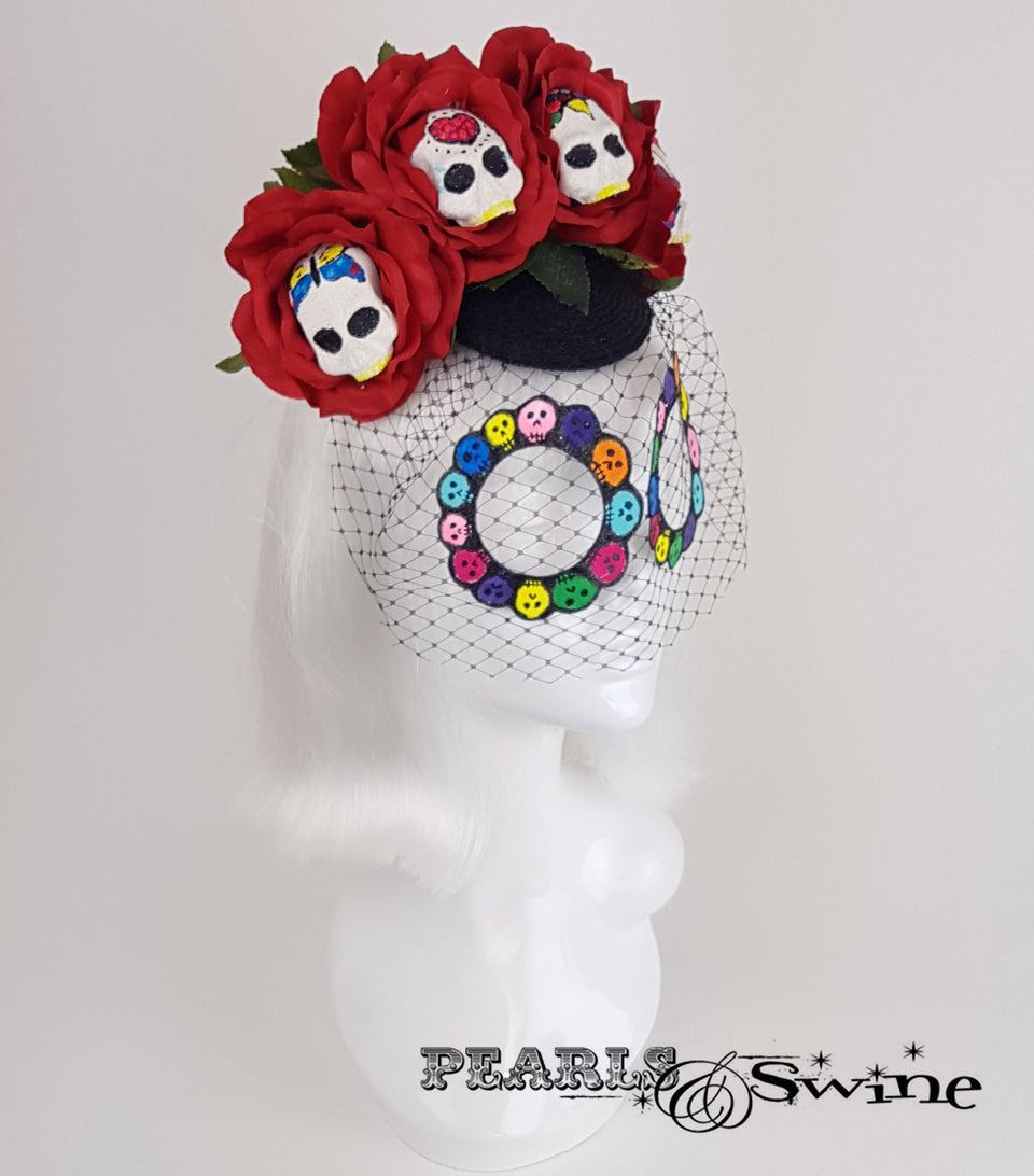 Sugar Skull Veiled Headdress, weird millinery UK