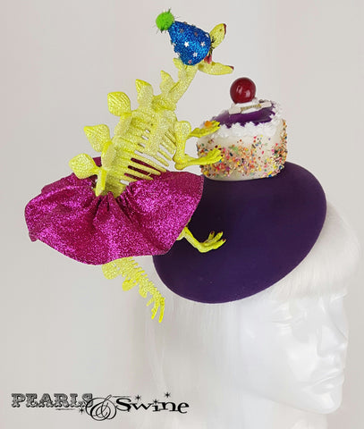 Dinosaur Cake Glitter Hat, fascinators for sale UK
