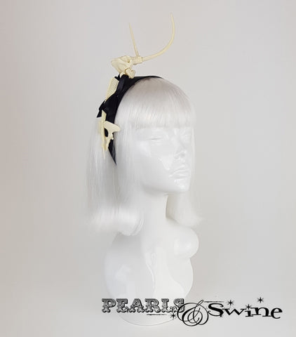 Dinosaur Bones & Bow Headband, millinery for sale UK