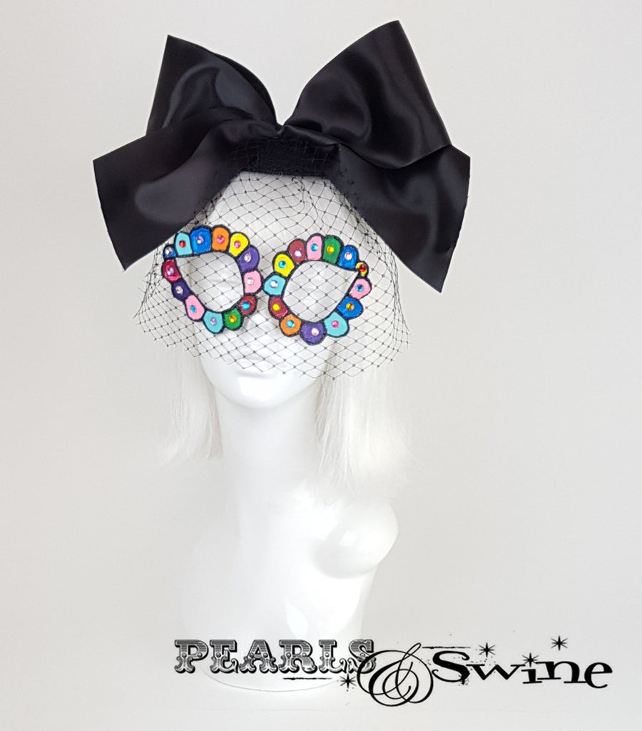 Black Veiled Mask Fascinator, day of the dead headpiece
