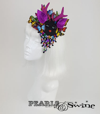 doll face fascinator butterfly millinery UK