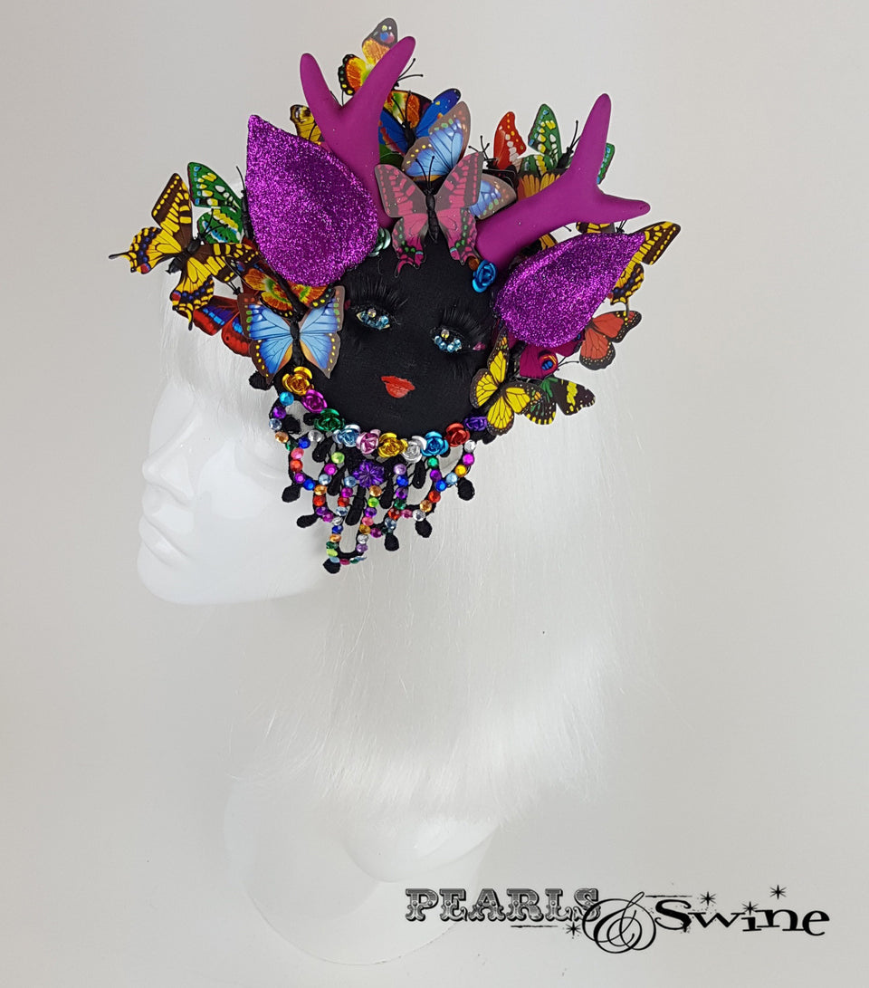 doll face fascinator butterfly wedding hat