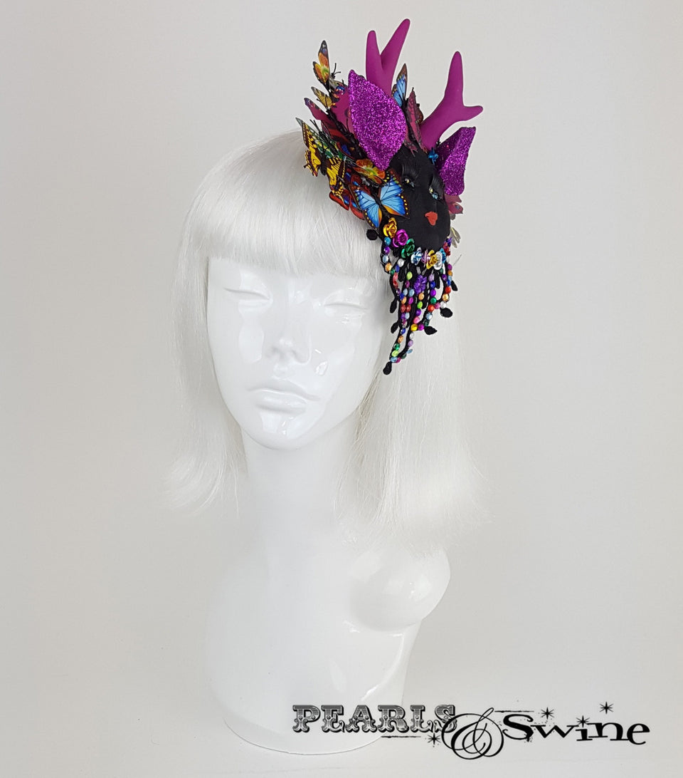 doll face fascinator butterfly antler