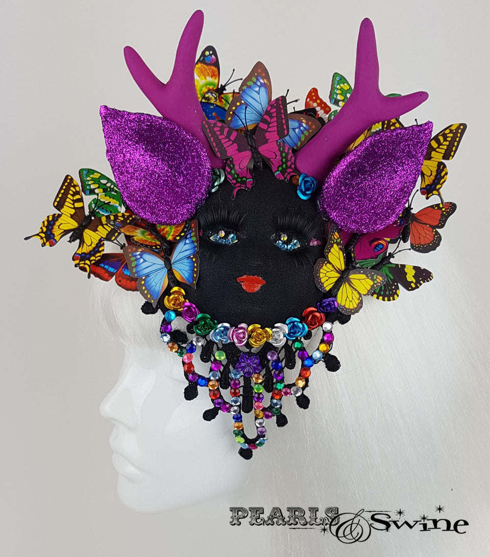 doll face fascinator butterfly wearable art UK