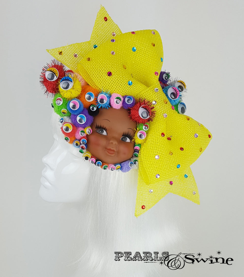 bow pom pom wiggly eye doll face hat UK